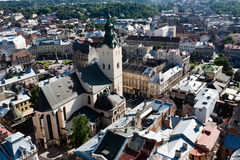 Lviv, Ukarine视图。 库存照片