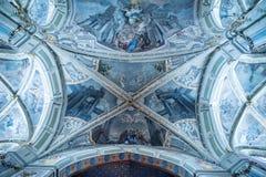 Lviv, Ουκρανία, την 1η Σεπτεμβρίου 2015: ανώτατη νωπογραφία του λατινικού καθεδρικού ναού Στοκ Εικόνες