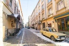 LVIV, ΟΥΚΡΑΝΊΑ - 14 Φεβρουαρίου 2017: Τοπίο οδών σε Lviv, Ουκρανία Στοκ Εικόνα