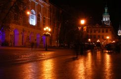 Lviv το βράδυ Στοκ Φωτογραφία