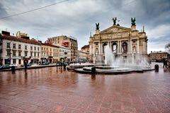 lviv歌剧乌克兰 免版税库存图片