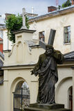 Lviv. Ancient statue of Christ carrying the Cross, in the yard of the Armenian Church in Lviv Royalty Free Stock Photos