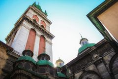 Lviv Assumption of the Blessed Virgin Mary Church Tower of Korniakt Low Angle View. stock images