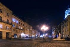 Lviv bij nacht Stock Afbeelding