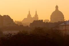 Lviv bij zonsopgang Royalty-vrije Stock Foto's