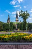 Lviv, Church of Sts. Olha and Elizabeth in the morning Royalty Free Stock Image