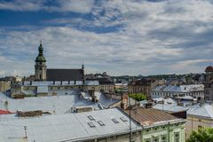 Lviv city buildings view from the roof Royalty Free Stock Photos