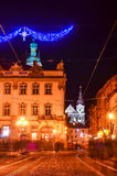 Lviv city center. Cathedral building church in Lviv center of Europe Stock Images