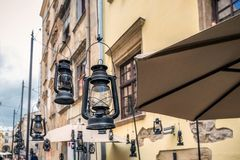 Lviv city center. Gas lamps at Lviv old town in the center Lviv city, Ukraine Royalty Free Stock Photos