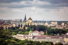 Lviv city center. View, historical center from roof at sunset, Ukraine Royalty Free Stock Images