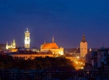 Lviv city center night panorama Stock Images