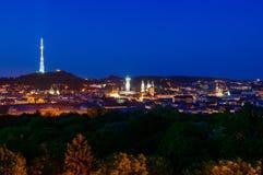 Lviv city center night panorama Royalty Free Stock Photos
