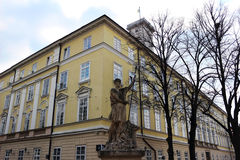 Lviv City Council and Adonis sculpture Royalty Free Stock Photography