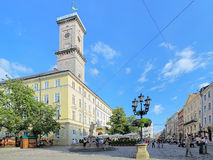 Lviv City Hall and Market Square, Ukraine Stock Photography