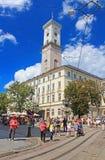 Lviv City Hall on the Rynok Square, Ukraine royalty free stock photos