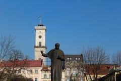 Lviv City Hall and Taras Shevchenko monument Stock Photography