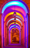 Lviv city lights. Arch near the main gate of city hall with lamps Stock Photo
