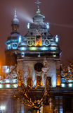 Lviv city lights St. Michael church Stock Photography