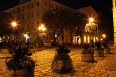 Lviv city by night Stock Photos