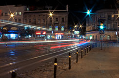 Lviv city night landscape. Ukraine Royalty Free Stock Images