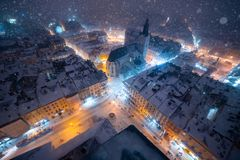 Lviv city night winter panorama. Architecture. Lviv city night winter panorama. Lviv Architecture. Houses in the city royalty free stock photo