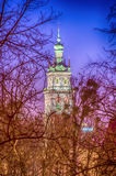Lviv city scape during the sunset in the winter season Stock Images