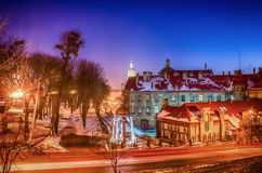 Lviv city scape during the sunset in the winter season Stock Image