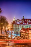 Lviv city scape during the sunset in the winter season Royalty Free Stock Image