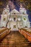 Lviv city scape during the sunset in the winter season Royalty Free Stock Images