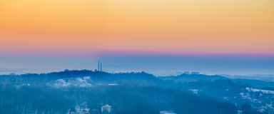Lviv city scape during the sunset in the winter season Royalty Free Stock Photo