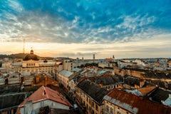 Lviv city sunrise. Lviv old city panorama view at sunrise Stock Photo