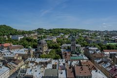 Lviv city from the top of the tower. In Ukraine Royalty Free Stock Images