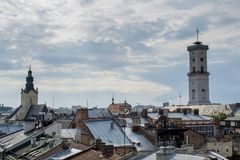 Lviv city view from the top of the roof. Of the building Stock Image