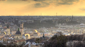 Lviv cityscape. Scenic view of sunset over city of Lviv in Western Ukraine stock photography