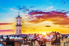 Lviv cityscape Royalty Free Stock Image