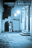 Lviv courtyard. Courtyard of historical buildings in Lviv at night Royalty Free Stock Image