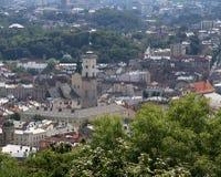 Lviv, de Oekraïne Centraal townscape en stadhuis Royalty-vrije Stock Foto