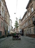 Lviv, de Oekraïne, Europa, architectuur, leeuwstad, oude gebouwen, royalty-vrije stock foto's