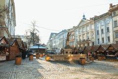 Lviv, de Oekraïne - Januari 1, 2017: Kerstmis en Nieuwjaarmarkt binnen Royalty-vrije Stock Afbeelding