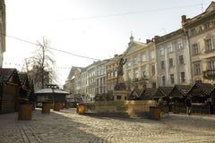 Lviv, de Oekraïne - Januari 1, 2017: Kerstmis en Nieuwjaarmarkt binnen Royalty-vrije Stock Foto
