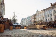 Lviv, de Oekraïne - Januari 1, 2017: Kerstmis en Nieuwjaarmarkt binnen Royalty-vrije Stock Foto's