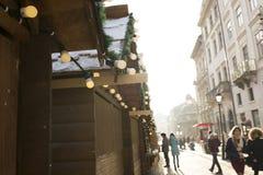 Lviv, de Oekraïne - Januari 1, 2017: Menigte van toeristen op een Nieuwjaar Stock Fotografie
