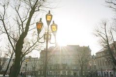 Lviv, de Oekraïne - Januari 1, 2017: Oude lantaarns op het Svoboda-Ave Stock Foto's