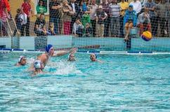 Lviv, de Oekraïne - Juli 2015: Het Oekraïense polo van het Kopwater De bal van het het waterpolo van het atletenteam in een zwemb Stock Afbeeldingen