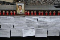 Lviv, de Oekraïne, 16 September, 2013 De verzameling in Lviv in geheugen van journalist Georgy Gongadze in de verjaardag van de d Stock Afbeelding