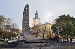 Lviv, de Oekraïne, 16 September, 2013 het monument aan Oekraïense dichter Taras Shevchenko op Liberty Avenue Royalty-vrije Stock Afbeelding