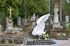 Lviv, de Oekraïne, 16 September, 2013 Lychakivbegraafplaats - oudst in Lviv Stock Fotografie