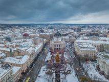 Lviv, de Oekra?ne - 25, December 2018 Arialschot Het huis van de Lvovopera Vector versie in mijn portefeuille stock fotografie