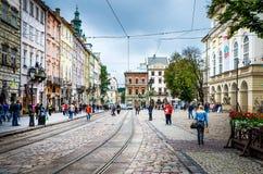Lviv - den historiska mitten av Ukraina Arkivbild