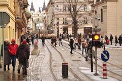Lviv gata royaltyfri fotografi